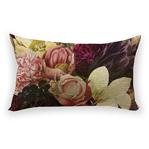 Hustor - Federa per cuscino in cotone e lino, motivo floreale, colore: viola, prugna, crema e rosa, 30,5 x 50,8 cm