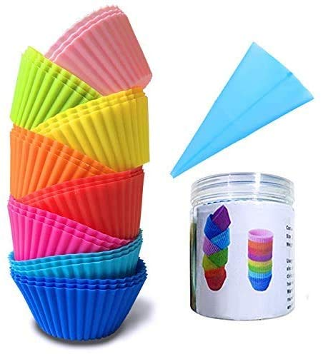 24PCS Silicone Cupcake Liners with Pastry Bag and Storage Tank as Bonuses , Reusable & Non-stick Baking Cups , standard Muffin Cups Chocolate Holders Truffle Cups (8 colors)