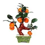 CNCEST Bonsai, Jade Tangerine Desktop Bonsai Hardstone Gemstone Tree Fruit Plant Natural Good Luck Home Office Decoration Spiritual Gift