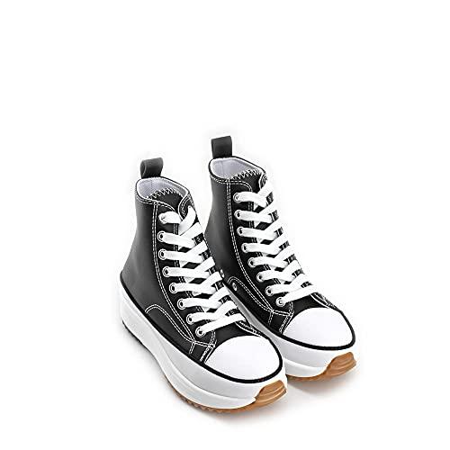 Modelisa - Zapatillas Altas Deportivas Polipiel con Cordón Mujer (Negro/PU, Numeric_36)