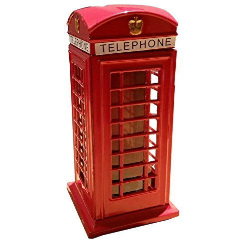 My London Souvenirs  London-1  Telephone Booth / Phone Red Box London Souvenir Die Cast Metal Money Box Bank Souvenir! Union Jack on Box / Speicher / Memoria! A Collectible, Distinctive, London, England  British UK Collectible-Red
