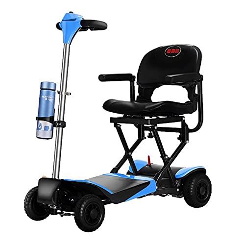GWXSST Scooters eléctricos plegables de 4 ruedas para adultos mayores, silla de ruedas motorizada ligera portátil plegable con asiento para todo terreno para viajes al aire libre
