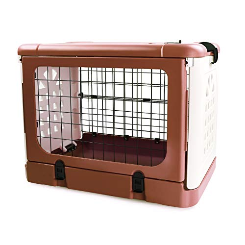 P&B Pet Carrier Dog Cage, Four-Sides Folding Animal Carrier Travel Cage Household and Car Pet Folding Cage Carrier Basic Crates, Great for Travel, Home and Outdoor (Coffee) Categories