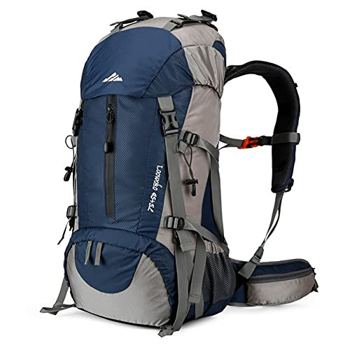 Loowoko Hiking Backpack 50L Travel Camping Backpack with Rain Cover for Outdoor Traveling (dark blue)