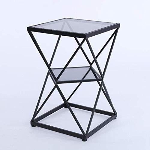 H-CAR Sofa Table,End Side Tables, Wrought Iron 2 Tier Gold Coffee Side Table, Living Room Couch Table, Bedside Square Small Corner Table, 40 * 40 * 60 cm Coffee Table,Snack Table (Color : C)
