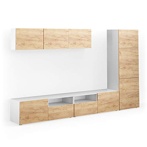Vicco Wohnwand 7er Set Compo Lowboard Sideboard Schrank Regal (Weiß/Eiche)