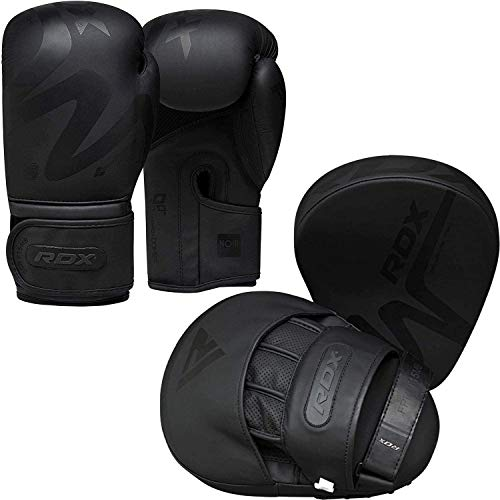 RDX Boxing Pads and Gloves Set, Convex Skin Leather Hook and Jab Target Focus Mitts with Punching Gloves, Good for Muay Thai, Kickboxing, Martial Arts, Karate, Coaching and MMA Training Matte Black