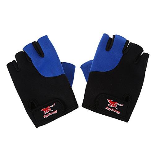 Katigan 2 x Guantes Deportivo sin Dedos Neopreno Negro Azul para Hombres