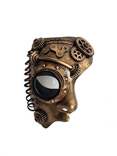 Dark Dreams Gothic Steampunk Maske Half Face halbe Augenmaske Android Roboter Cyber Sci Fi