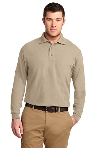 Port Authority® Long Sleeve Silk Touch™ Polo. K500LS Stone 5XL