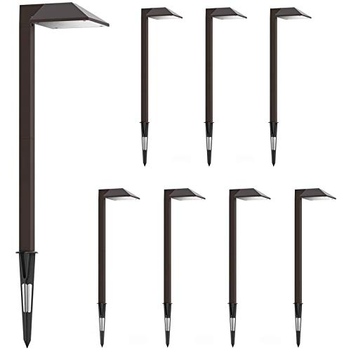 GOODSMANN Path Lighting 8 Pack LED Low Voltage Landscape Lights 0.6 Watt Garden Lights Outdoor Lighting with Metal Stake and Connector 22 Lumen Warm White Landscape Light, Charcoal Brown 9920-2101-08