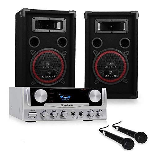 electronic star Set de DJ PA Easy - Amplificador Skytronic 400W , 2 Altavoces Profesionales 200W RMS , Micrófonos dinámicos , Ecualizador 2 Bandas , Eventos hasta 100 Personas , Negro