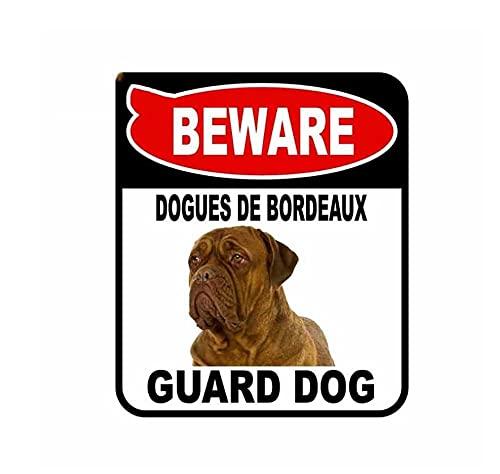 MDGCYDR Adesivo per Auto Cane 13 Cm X 11 Cm Attenzione Dogues De Bordeaux Cane da Guardia Adesivo per Auto Graffi per Copertura Segno Composito Decalcomania per Cani