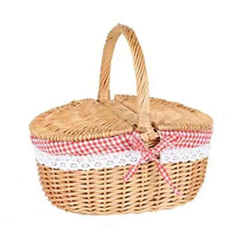 xiaowang Cesta de mimbre para pícnic con asa y forros de tapa, tejida a mano, para picnic, senderismo, camping, reuniones familiares