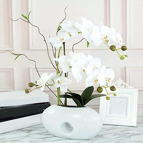 Hengqiyuan Planta de simulación Phalaenopsis Sala de Estar decoración Adornos Flores Falsas Flores de Seda Ornamentos en Maceta Olla empanada Hecha a Mano Flor Flores Ramas,Blanco
