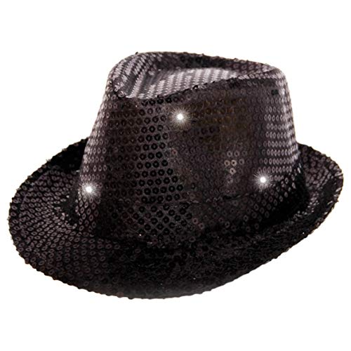 Folat Chapeau Trilby Métallique Noir avec Lampes LED et Paillettes