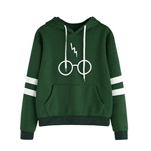 K-youth Mujer Sudaderas, Mujeres Harry ✿ Potter Gafas Estampado Sudaderas con Capucha Manga Larga Sudaderas Jersey de Bolsillo Tumblr Mujer Cortas Blusa Tops (Verde, S)