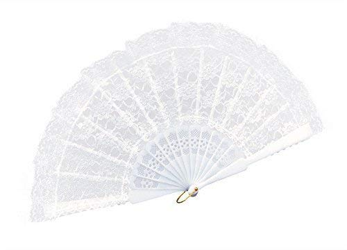 Fancy Me Femmes Noir Dentelle Blanche Espagnol Chinois Costume Déguisement Éventail Accessoire - Blanc