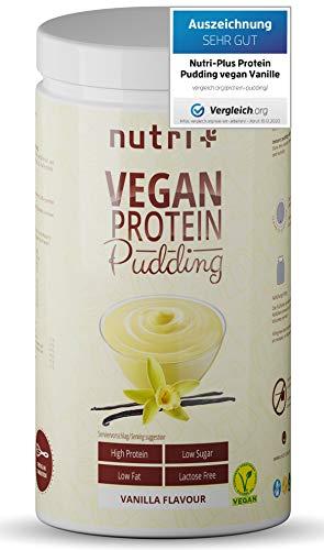 PROTEIN PUDDING VEGAN Vanille 500g - Testsieger mit 84,8% Eiweiß - nur 113 Kalorien - Low Sugar Dessert - Zuckerarm - Laktosefrei - Kalorienarm - Fettarm - Glutenfrei