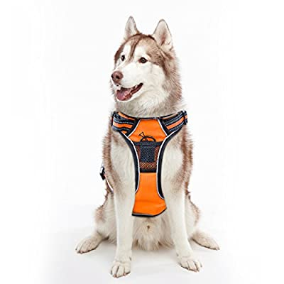 Dog Harness Vest Reflective, Adjustable Padded Vest Comfort Control for Dog, No Pull