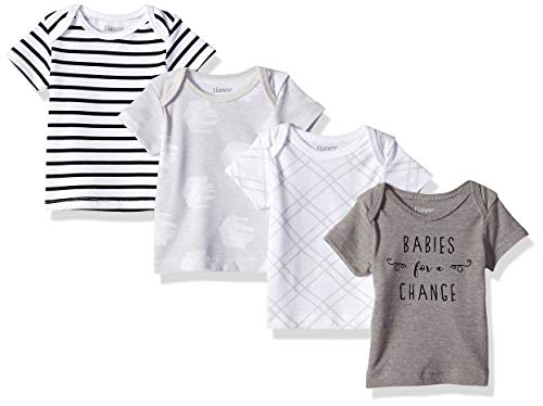 Hanes unisex baby Ultimate Flexy 4 Pack Short Sleeve Crew Tees T Shirt Set, Grey Fun, 12-18 Months US