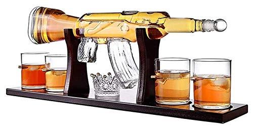 Juego de decantores de whisky, decantador de whisky de rifle elegante con 4 gafas de bala y base de madera de mioganía, 100% de cristal libre de plomo, para todos los espíritus de licor, 1000 ml Decan