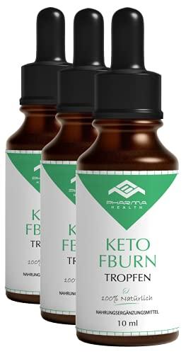 Keto FBurn Tropfen | Ketogen K Drops | Ketose Liquid | Kohlenhydratblocker | schnell und extrem | Einfach | 10 ml (3x)