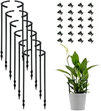 12 Pack Plant Support Plant Stakes with 24 Pcs Plant Clips, Half Round Plant Support Ring Plastic Plant Cage Holder Flower Pot Climbing Trellis for Small Plant Flower Vegetable,Indoor Plants