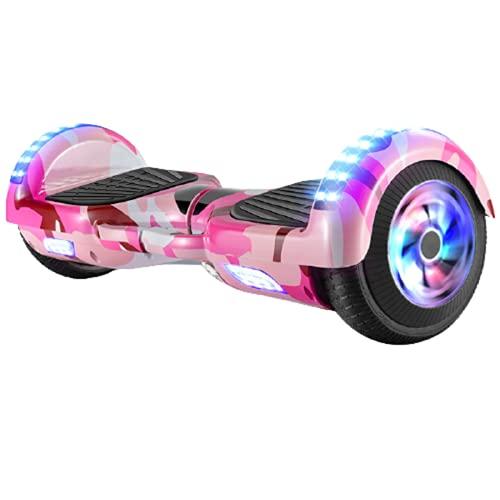 Patinete EléCtrico Electric Scooter Hoverboard Auto Equilibrio Luz Led Motor de 500w Altavoz de MúSica Bluetooth para NiñOs y Adultos,Pink