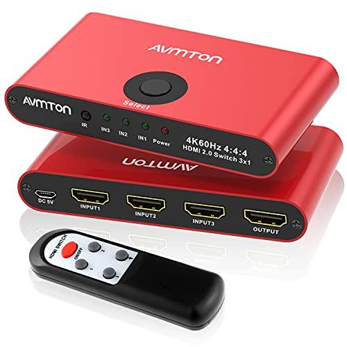 AVMTON HDMI 2.0 HDMI Splitter 3 in 1 Out Hdmi Switch Fernbedienung,Aluminium HDMI Umschalter Unterstützung 4K@60HZ HDCP2.2 3D HD1080P, HDMI Switcher für PS4 Pro Xbox PC