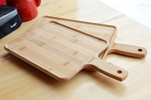 角利産業 バンブーランチプレートカッティングボード リバーシブル まな板 アウトドア 持ち手付 長小 200×240(340)×15mm