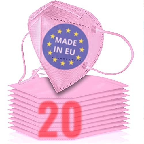 20x FFP2 rosa [MADE IN EU] - FFP2 Maske rosa CE zertifiziert nach EN149:2001+A:2009 - Farbige FFP2 Maske pink CE zertifiziert - FFP2 Maske bunt in rosa - atmungsaktive FFP2 bunt, FFP2 pink aus Europa