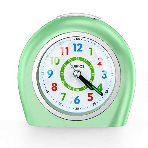 Juboos - Sveglia analogica per bambini, senza ticchettio, orologio da tavolo con funzione snooze, luce notturna a batteria, per ragazzi e ragazze, colore: Verde