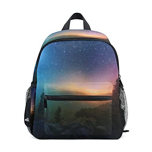 Mini mochila escolar bolsa de colegio para niños niñas invierno bosque noche cielo
