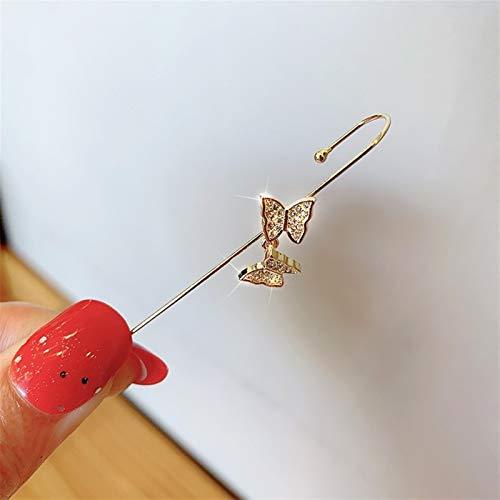 JTSGHRZ Frauen Ohrringe Ohr Nadel Wrap Haken Ohrringe Frauen Surround Auricle Diagonal Bolzen Kupfer Inline Zirkon Piercing Ohrringe (Metal Color : Butterfly Gold)