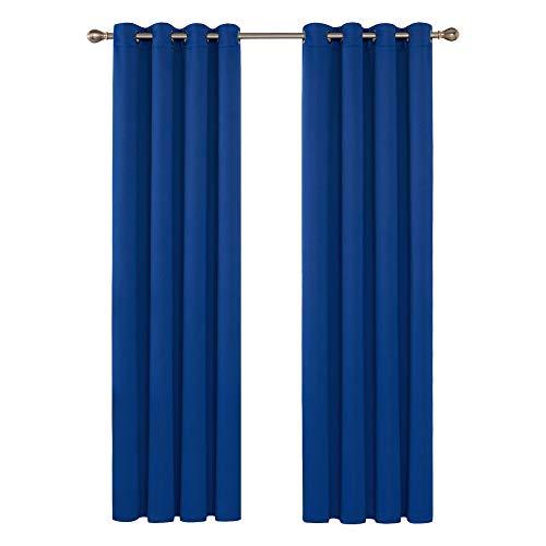 Deconovo Cortinas Habitacion Termicas Aislantes Dormitorio Decoración Ventanas Moderna con Ollaos 2 Piezas 140x245cm Azul Oscuro