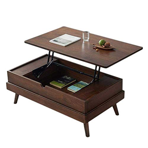 RJMOLU Tavolino da caffè Superiore Ascensore Moderno - Tavolo da Pranzo Multifunzione - Tavolino in Legno Minimalista con Maniglia Nascosta e Scomparto per Soggiorno della Reception Ufficio