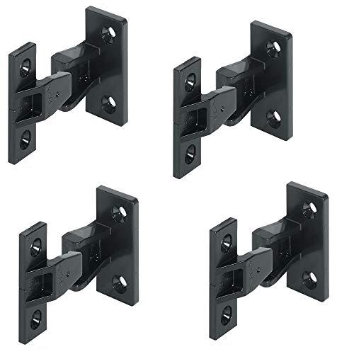 Gedotec Einhängebeschlag Keku AS Platten- und Rahmenteil für Holz-Möbel & Schränke | Einhänge-Verbinder zum Schrauben | Kunststoff schwarz | 4 Set - Möbelverbinder für auszuhängende Paneele