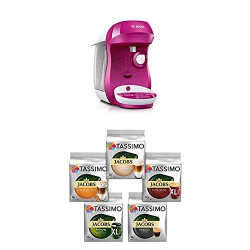 Bosch TAS1001 Tassimo Happy Kapselmaschine,1300 W, platzsparend, große Getränkevielfalt, TasWild purple + Tassimo Vielfaltspaket - 5 verschiedene Packungen kaffeehaltiger Getränke T Discs (1 x 927 g)