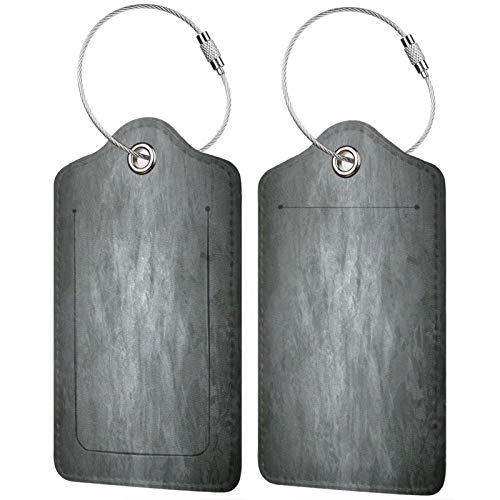 FULIYA Juego de 2 etiquetas de equipaje seguras de alta gama de cuero para maletas, tarjetas de visita o bolsa de identificación de viaje, superficie, gris, puntos, luz, textura
