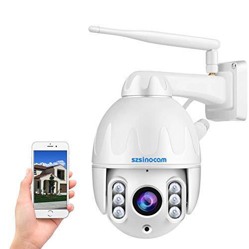 PTZ überwachungskamera Aussen,HD 1080P WLAN IP Kamera mit Zweiwege-Audio,8X Optischer Zoom Schwenkbare Dome WiFi Kamera,Bewegungs-Humanoid-Erkennung,Sound&Licht Alarm,50M IR Nachtsicht,APP-Fernzugriff
