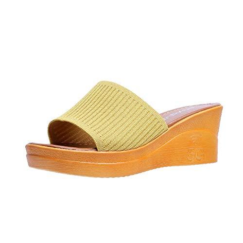 Cxypeng Schlappen rutschfest Pantoffeln,Gestrickte Keilsandalen und Hausschuhe für Damen, Strandschuhe mit dickem Boden - gelb_37,Flip Flops Pantoletten Bequeme
