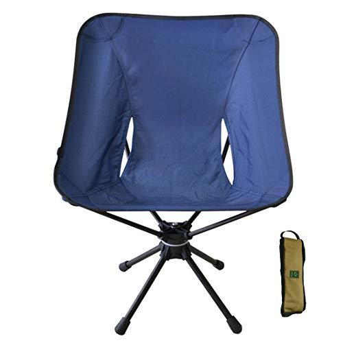 Shna スウィベルチェア 折り畳み式 椅子 360度 回転式 超軽量 ポータブル チェア(7075 航空 アルミニウム チューブ+ 600D 防水 オックスフォード 布) 一体型ベアリング ベアリング 約 150kg 【ネイビー】