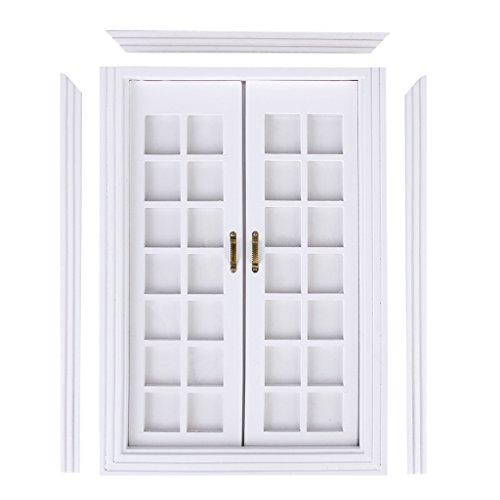 CUTICATE Maßstab 1:12 Puppenhaus Miniatur Weiß Holz Doppel Französisch Tür & Rahmen DIY