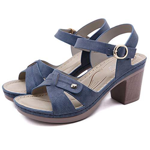 WggWy Sandalias de Moda Casuales de Las señoras, Hebilla de Metal Línea de Coche Hebilla Tacón Grueso Sandalias cómodas adecuadas para Fiestas de la Tarde,Azul,42