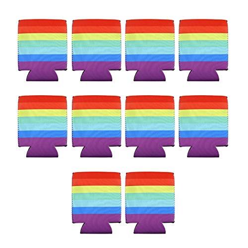 Create Idea 10 Stück Regenbogen Stolz Bier LGBT Dose Kühlerhülsen Set 330ml Isoliertes Getränk Zusammenklappbare Partys Events 12,5x10cm