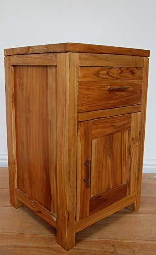 Sassak Teak nachtkastje met een lade en een deur 63 cm lang, 38 cm breed, 38 cm diep. Gemaakt van duurzaam Teak in Java.