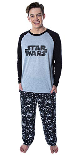 Star Wars Men's Pajamas Classic Logo Raglan Shirt And Lounge Pants 2 PC Sleepwear Pajama Set (2X-Large) Black