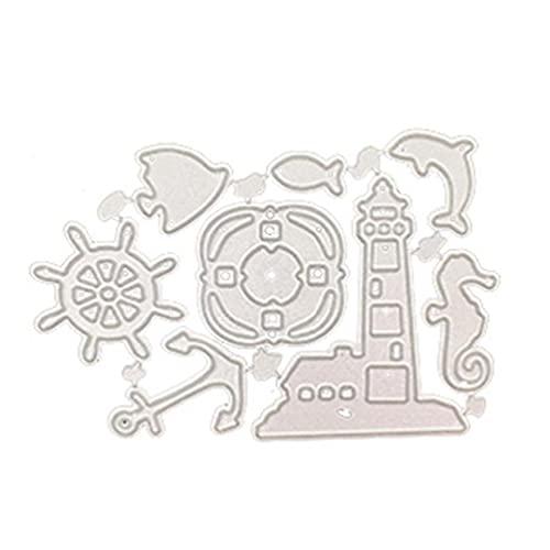Accesorios marinos hechos a mano de bricolaje Troquelado de acero al carbono Cortes para decoración Tarjeta Álbum de recortes Estampado en relieve Plantilla de álbum de manualidades de papel para