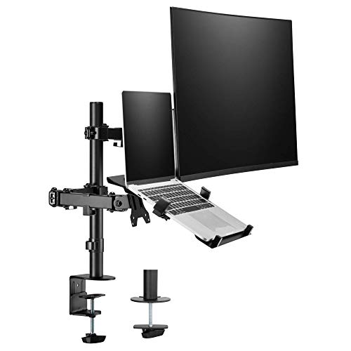 """AVLT Laptop and Monitor Mount Stand - Mount 15.6"""" Notebook and 32"""" Monitor on 2 Articulating Arms - Organize Your Work Surface with VESA Monitor Desk Mount"""